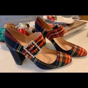 Green Tartan Plaid Mary Jane Heel Shoe Ornament New